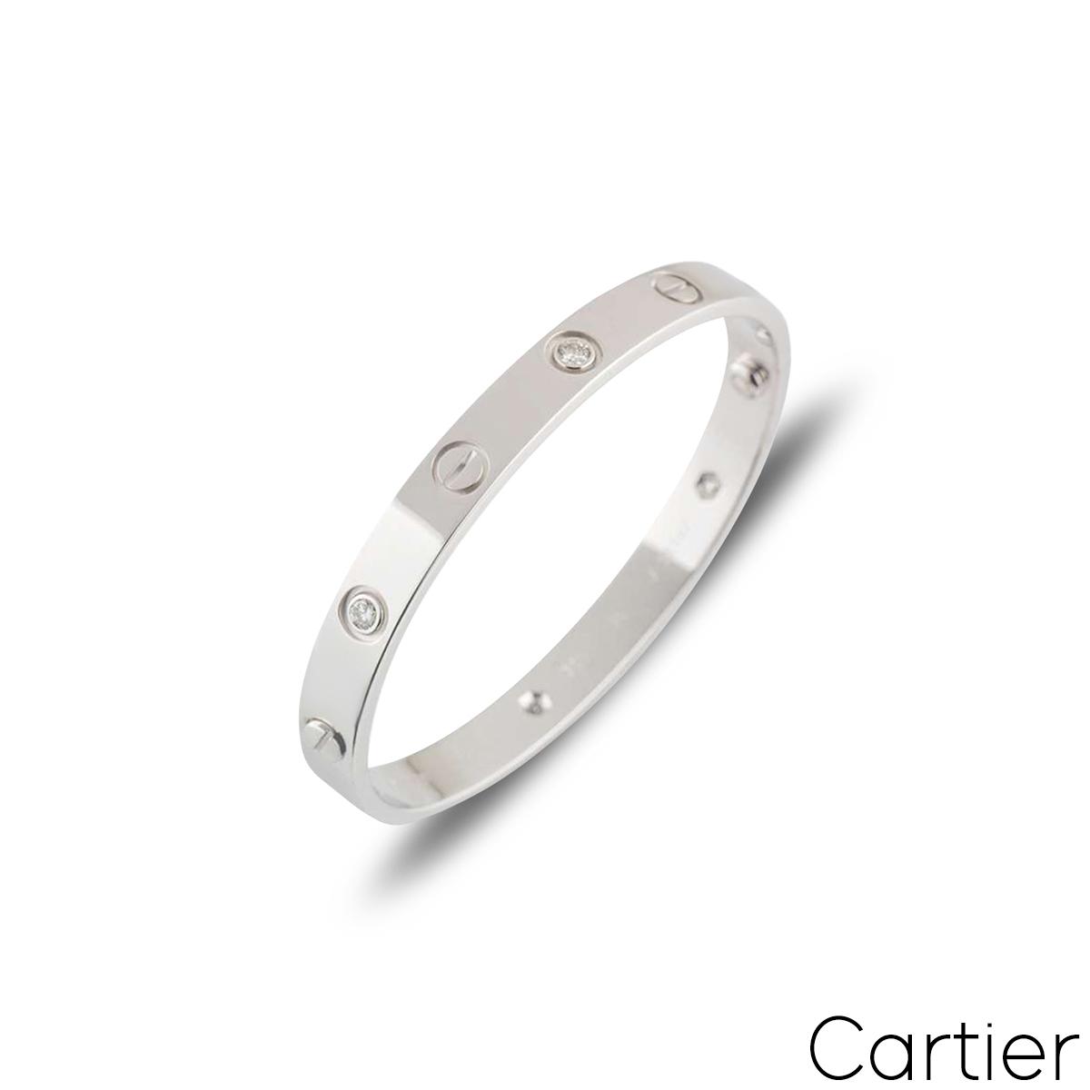 Cartier White Gold Half Diamond Love Bangle Size 16 B6035816
